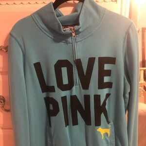 Victoria's Secret Pink turquoise quarter zip